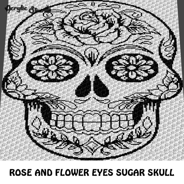 Tattoo Flower Eyes Sugar Skull Alpha Art C2C crochet graphgan blanket pattern; afghan; graphgan pattern, cross stitch graph; pdf download; instant download