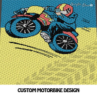 Custom Motorbike with Rider and Bike Tracks crochet blanket pattern; c2c, cross stitch graph; instant download