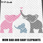 Mommy Daddy and Baby Elephants With Heart crochet graphgan blanket pattern; c2c, cross stitch; graph; pdf download; instant download