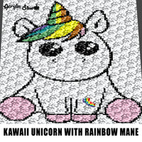 Kawaii Unicorn With Rainbow Mane and Tattoo Cartoon Fantasy crochet graphgan blanket pattern; c2c; single crochet; cross stitch; graph; pdf download; instant download