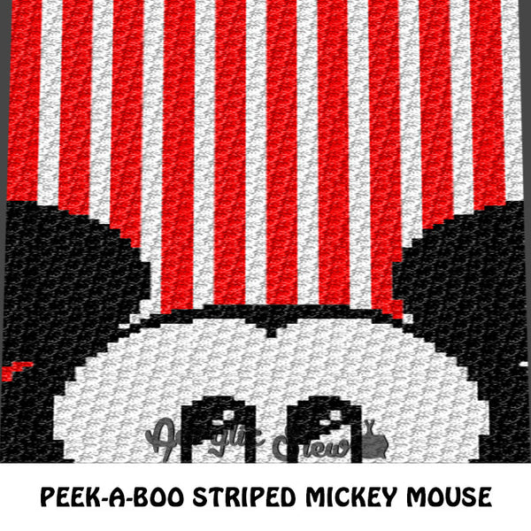 Peek-A-Boo Mickey Mouse Striped crochet blanket pattern; graphgan pattern, c2c, knitting, cross stitch graph; pdf download; instant download