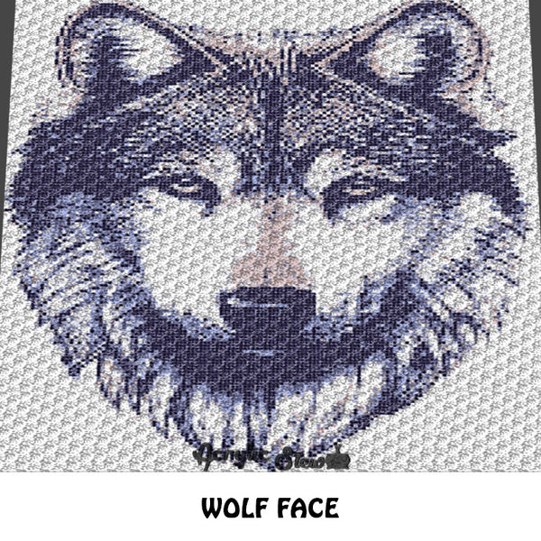 Wolf Face Wolf Photograph Art crochet graphgan blanket pattern; graphgan pattern, c2c, knitting, cross stitch graph; pdf download; instant download