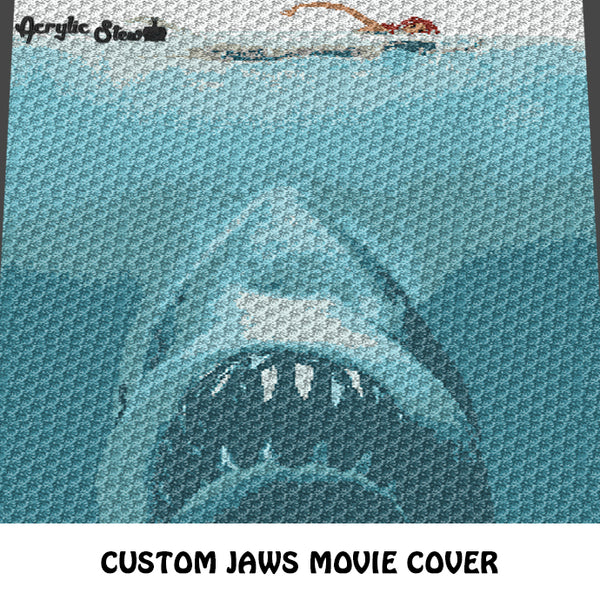 Custom Jaws Movie Cover Iconic Vintage Photo crochet graphgan blanket pattern; c2c, cross stitch graph; instant download