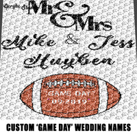 Custom Mr and Mrs 'Game Day' Save the Date Personalized With Names crochet graphgan blanket pattern; c2c, cross stitch graph; pdf download; instant download
