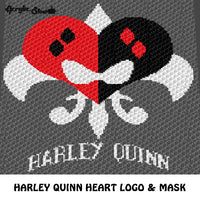 Harley Quinn DC Comics Villain Logo & Mask Heart crochet graphgan blanket pattern; graphgan pattern, c2c, cross stitch graph; pdf download; instant download