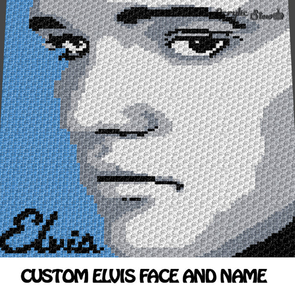 Custom Elvis Photo with Name crochet blanket pattern; c2c, cross stitch graph; instant download