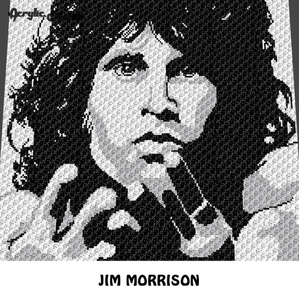 Jim Morrison The Doors Rock N' Roll Musician C2C crochet blanket pattern; afghan; graphgan pattern, cross stitch graph; pdf download; instant download