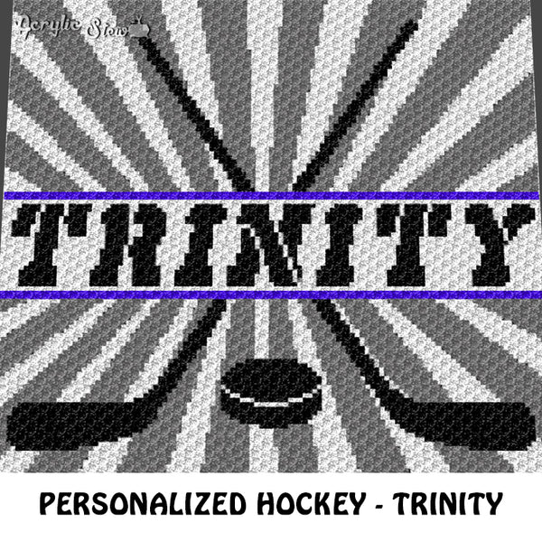 Custom Personalized Name Hockey Sticks and Puck Trinity crochet blanket pattern; graphgan pattern, c2c, cross stitch graph; pdf download; instant download