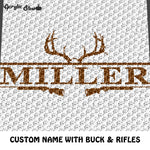 Custom Country Western Buck Hunting Rifles with Family Name crochet graphgan blanket pattern; c2c, cross stitch graph; pdf download; instant download