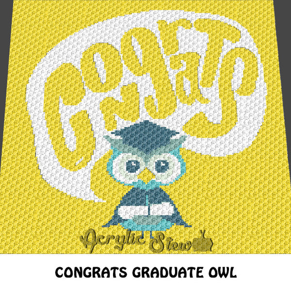 Congrats Owl Graduate crochet blanket pattern; c2c, cross stitch graph; instant download