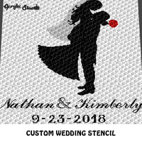 Custom Personalized Bride Groom Wedding Stencil With Fancy Names and Save the Date Anniversary crochet graphgan blanket pattern; c2c, cross stitch graph; pdf