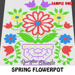 Spring Flowerpot Floral crochet blanket pattern; c2c, cross stitch graph; instant download