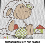 Nici White Sheep With Building Blocks crochet blanket pattern; c2c, custom graphgan, cross stitch graph; pdf download; instant download