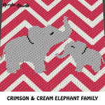Chevron Mom and Baby Elephant Baby Animals Crimson and Cream crochet graphgan blanket pattern; c2c, cross stitch graph; pdf download; instant download