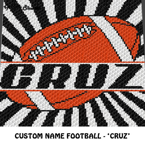 Custom Personalized Name Football Cruz crochet graphgan blanket pattern; graphgan pattern, c2c, cross stitch graph; pdf download; instant download