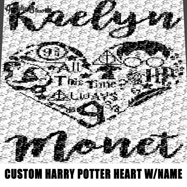 Custom Harry Potter Heart with Custom Name Kaelyn Monet crochet graphgan blanket pattern; c2c; single crochet; cross stitch; graph; pdf download; instant download