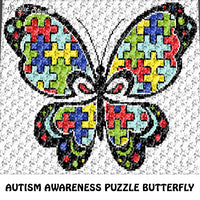 Autism Butterfly Autism Awareness Puzzle Pieces Primary Colors crochet graphgan blanket pattern; c2c; single crochet; cross stitch; graph; pdf download; instant download