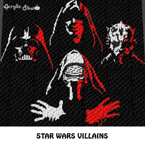 Star Wars Movie Villains Darth Vader Darth Maul Kylo Ren The Emperor crochet graphgan blanket pattern; c2c, cross stitch graph; pdf download; instant download