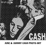 June and Johnny Cash Photo Art Country Music Singer Songwriter Guitarist  crochet graphgan blanket pattern; afghan; graphgan pattern, cross stitch graph; pdf download; instant download
