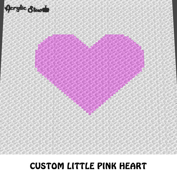 Custom Little Pink Heart Simple Shapes crochet graphgan blanket pattern; c2c, cross stitch graph; pdf download; instant download