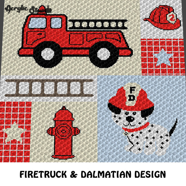 Fire Truck Fireman Dalmatian crochet graphgan blanket pattern; c2c, knitting, cross stitch graph; pdf download; instant download
