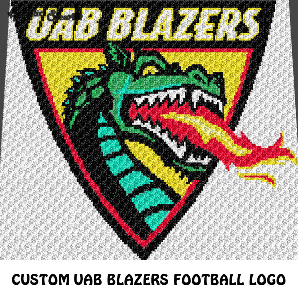 Custom UAB University of Alabama at Birmingham College Logo crochet graphgan blanket pattern; c2c, cross stitch graph; instant download