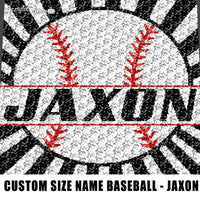 Custom Size Personalized Baseball Art With Name crochet graphgan blanket pattern; c2c; single crochet; cross stitch; graph; pdf download; instant download