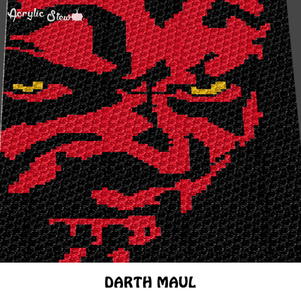 Darth Maul Star Wars Villain Movie Character crochet graphgan blanket pattern; c2c, cross stitch graph; pdf download; instant download