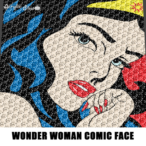Wonder Woman Face Comic Strip Art crochet graphgan blanket pattern; afghan; graphgan pattern, cross stitch; graph; pdf download; instant download