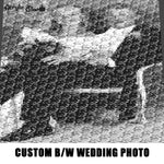 Custom Wedding Photo Black and White Memoir crochet graphgan blanket pattern; c2c; single crochet; cross stitch; graph; pdf download; instant download