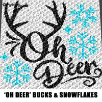 Oh Deer Snowflakes Winter Themed Buck Horns Country Western Typography Quote crochet graphgan blanket pattern; c2c, cross stitch; graph; pdf download; instant download
