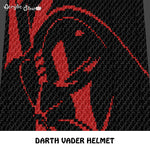 Darth Vader Face Helmet Face Star Wars Villain Character Art crochet graphgan blanket pattern; c2c, cross stitch graph; pdf download; instant download
