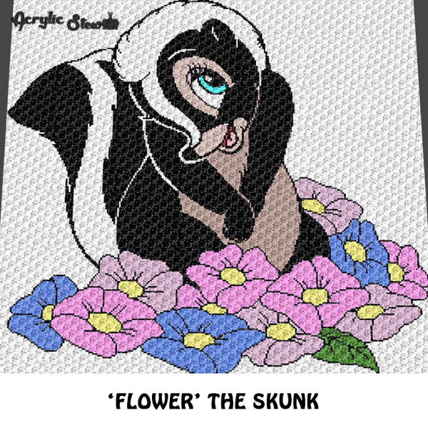 Flower the Skunk Bambi Movie Disney Cartoon Character Forest Animal Floral crochet graphgan blanket pattern; graphgan pattern, c2c, cross stitch graph; pdf download; instant download