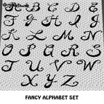 Fancy Curly Letters A to Z Alphabet Font Set crochet graphgan blanket pattern; c2c, cross stitch graph; pdf download; instant download
