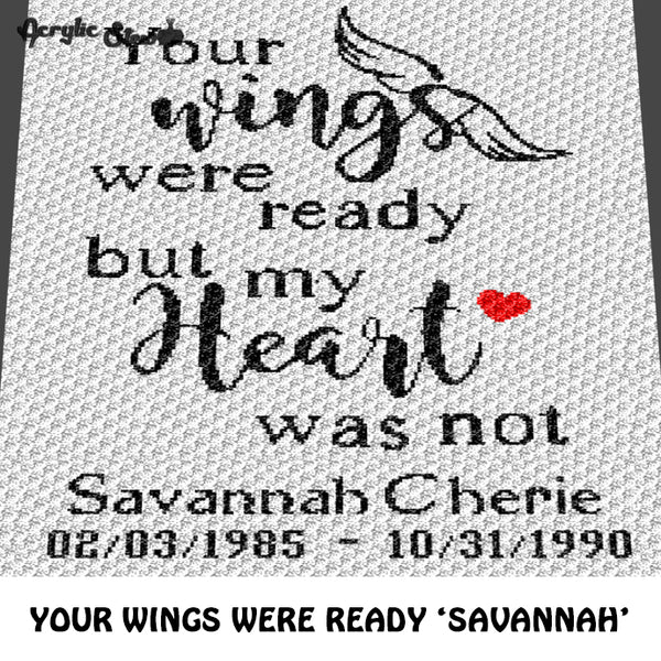 Custom Your Wings Were Ready Quote Personalized Name and Date crochet blanket pattern; c2c, cross stitch graph; instant download