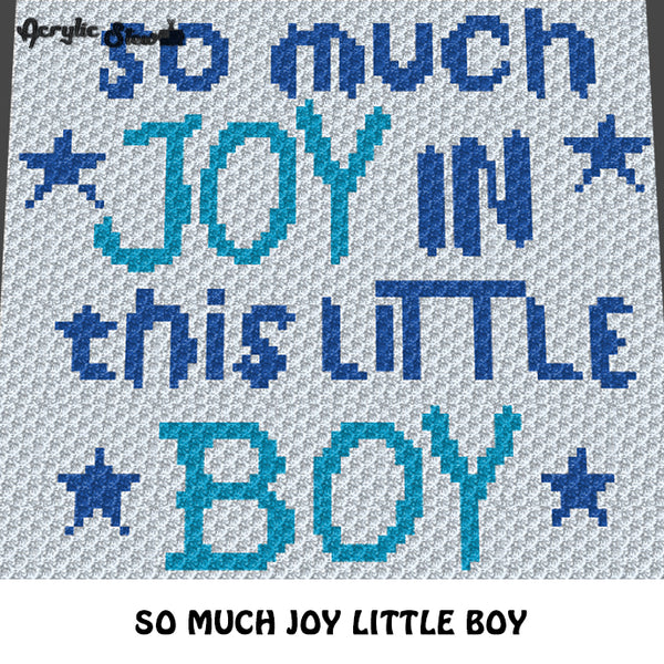 So Much Joy Little Boy Baby Stars crochet graphgan blanket pattern; c2c, knitting, cross stitch graph; pdf download; instant download