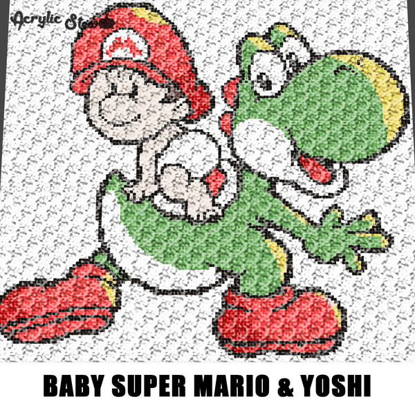 Baby Super Mario and Yoshi Nintendo Kawaii crochet graphgan blanket pattern; graphgan pattern, c2c, cross stitch; graph; pdf download; instant download
