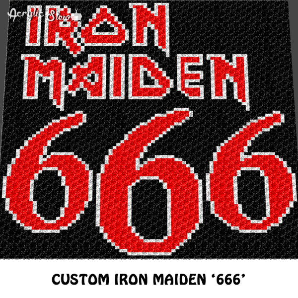 Custom Iron Maiden 666 Heavy Metal Band crochet graphgan blanket pattern; afghan; graphgan pattern, cross stitch graph; pdf download; instant download