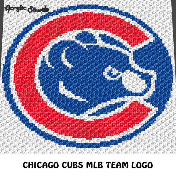 Chicago Cubs MLB Baseball Team Logo crochet graphgan blanket pattern; c2c, cross stitch graph; pdf download; instant download