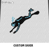 Custom Scuba Diver with Bubbles crochet blanket pattern; c2c, cross stitch graph; instant download