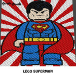 Lego Superman DC Comics Superhero crochet graphgan blanket pattern; graphgan pattern, c2c, cross stitch graph; pdf download; instant download