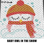 Baby Owl Wearing Scarf and Hat Sitting In Snow Baby Animals Woodland Creatures crochet graphgan blanket pattern; graphgan pattern, c2c; cross stitch; graph; pdf download; instant download