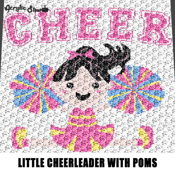 Cheer Little Varsity Cheerleader With Poms crochet graphgan blanket pattern; graphgan pattern, c2c, single crochet, knitting, cross stitch; graph; pdf download; instant download
