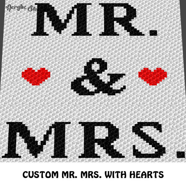 Custom Mr and Mrs With Hearts crochet blanket pattern; c2c, cross stitch graph; instant download