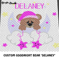 Custom Goodnight Teddy Bear Moon and Stars Personalized With Matching Name crochet graphgan blanket pattern; graphgan pattern, c2c, cross stitch graph; pdf download; instant download