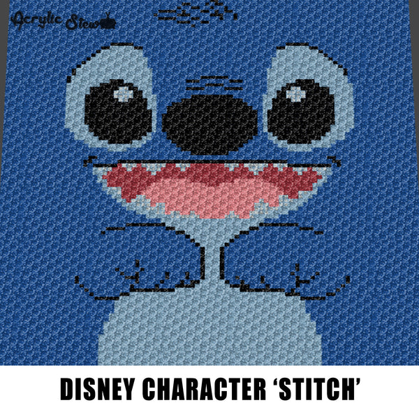 Stitch Face Disney Lilo and Stitch Movie Cartoon Character crochet graphgan blanket pattern; c2c, cross stitch; graph; pdf download; instant download