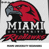 Miami University Redhawks crochet graphgan blanket pattern; c2c, cross stitch graph; pdf download; instant download