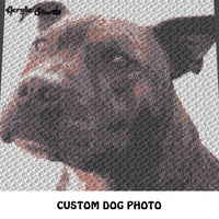 Custom Dog Beloved Family Pet Photo crochet graphgan blanket pattern; c2c, cross stitch graph; pdf download; instant download