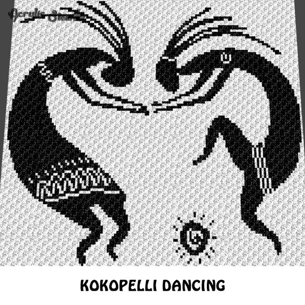 Custom Two Dancing Kokopelli crochet blanket pattern; c2c, cross stitch graph; instant download