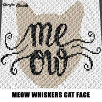 Meow Whiskers Typography Cat Face crochet graphgan blanket pattern; c2c, cross stitch; graph; pdf download; instant download